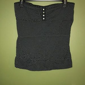 Black and white polka dot strapless blouse